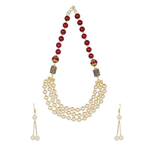 Efulgenz Indian Bollywood Multi Layered Faux Ruby Pearl Beads Bridal Strand Necklace Earrings Wedding Jewelry Set