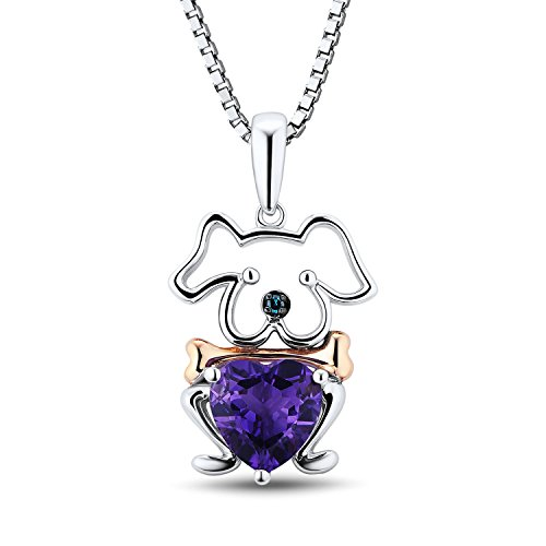 Amethyst Puppy Dog Necklace Rhodium Plated Sterling Silver and Rose Gold Plated Accent