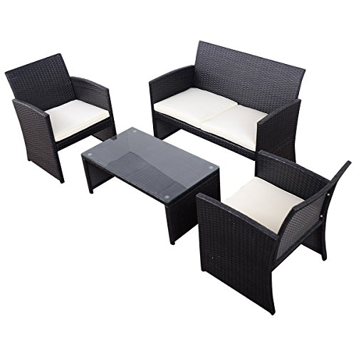 Tangkula 4 Piece Outdoor Patio Sofa Set Lawn Garden Outdoor PE Rattan Wicker Furniture Sets (Black) (Cushions Breakfast Set Nook)