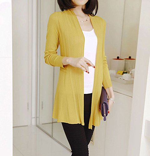 Shawhuaa Womens knitted Slim Fit Open Front Cardigan Sweater Shawl Yellow