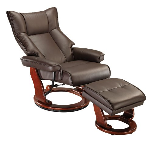 Espresso Faux Leather Ottoman and Swiveling Recliner