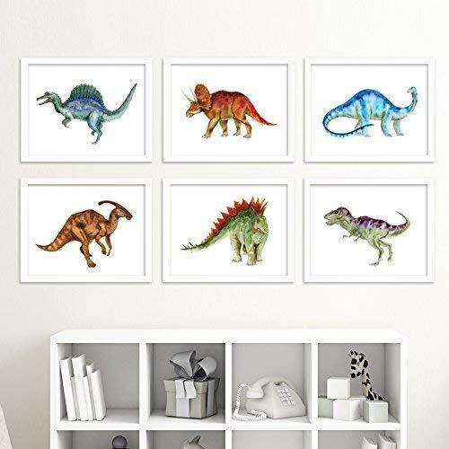 (Dinosaur Nursery Art Print Set, Set of 6 Prints of Baby Dinos - Brontosaurus, Stegosaurus, Triceratops, T-Rex, Spinosaurus and Parasaurolophus)