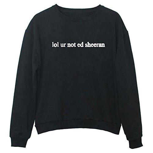 Calvary Black Tumblr lol ur not ed sheeran Women's Fashion Casual Tops Ladies Pullovers Long Sleeve Letter Print Sweatshirts Sweater