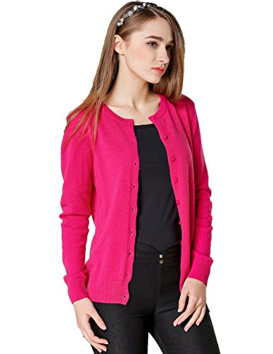 Argyle Roses (Xiouli Women's Crewneck Long Sleeve Wool Cardigan Sweater hy003£¨L, Rose red£©)