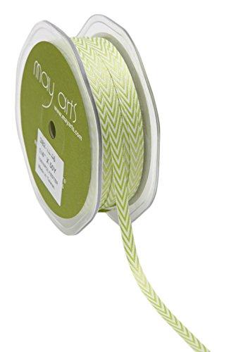 May Arts Chevron Stripe - May Arts Twill Chevron Stripes Ribbon, 0.25-Inch by 50-Yard, Celery