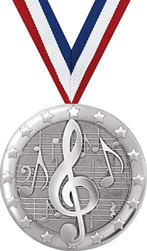 ミュージックメダル - 2インチ シルバー ミュージックメダル賞 B07GDW4BGY  5