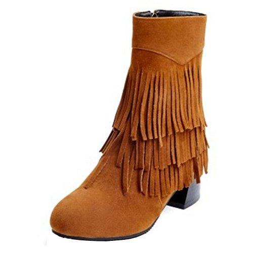 Calf Camel Mi Bottes RAZAMAZA Fermeture Femmes Eclair Moyen Indiennes Bloc Talon Bottes STRxq6pw