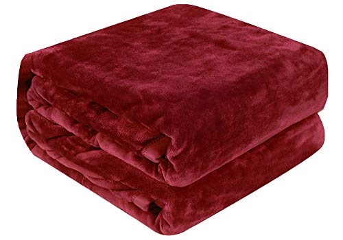 (Qbedding Inc. Luxury Collection Microplush Flannel Fleece Blanket | Ultra Soft 380 GSM Lightweight All-Season Anti-Static Throw/Blanket for Sofa Couch Bed (Twin (59'' x 78''), Burgundy))