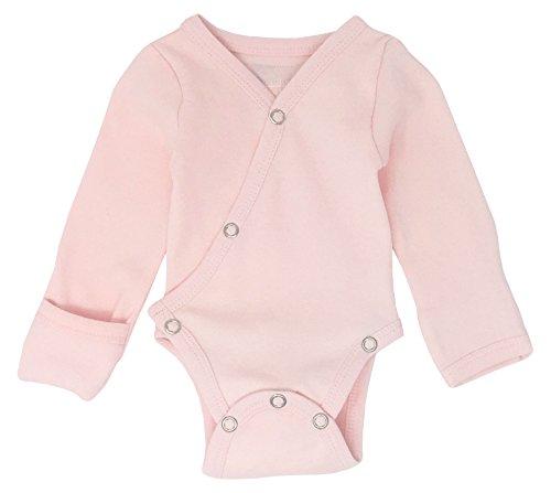 Baby Wrap Bodysuit - L'ovedbaby Unisex Baby Organic Cotton Kimono Bodysuit (3-6 Months, Blush)