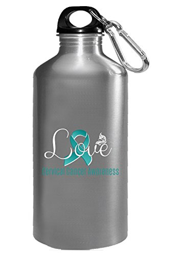 Love Butterfly Cervical Cancer Awareness With Teal Ribbon - Water Bottle