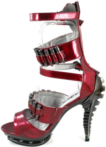 Abs Molded Platform Spike In Burgundy Heel With Skeleton Rivets U6gHOxwqq5