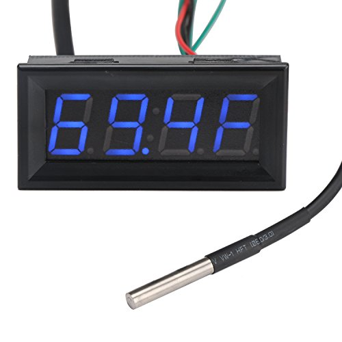 Drok Led Voltage Fahrenheit Temperature Time Digital Multimeter Dc 030V 12V/24V Voltmeter Thermometer Clock 3In1 Multi Meter Gauge Panel