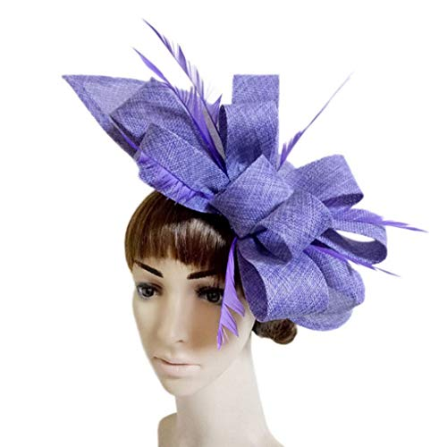 (HappyShopDecoration Women's Fascinators Hats Elegant Feather Bowknot Sinamay Hat Ladies Wedding Party Hats Cocktail Party)