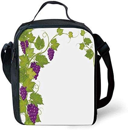 Grapes Home Decor Stylish Lunch Bag,Latin Brochure Label Italian Town Province Vintage Menu Sign Artwork for Children,7.4