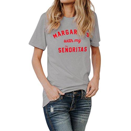 Col Fille Ete Taille Top Angelof T Courtes Message Shirt Manches Femme Ample Gris Rond Ado Basique Grande Blouse wqf8Bv