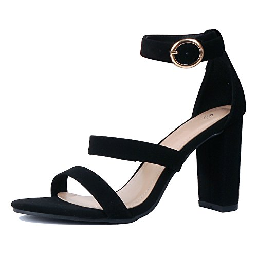 Toe Heeled Sandals Open Guilty Walking Heart Blackv1 Ankle Block Womens Strap Comfortable Chunky Pu qFw8qUczP