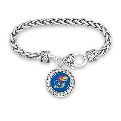 FTH Kansas Jayhawks Silver Tone Bracelet with Round Team Logo and Embellished with Crystals (Team Logo Bracelet)