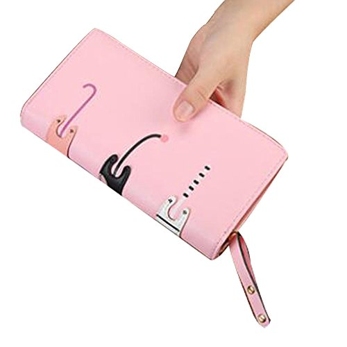 CN BRO Mi-longueur dames sac à main dessin animé ballot 3 chats fermeture à glissière en cuir PU petit sac à main E