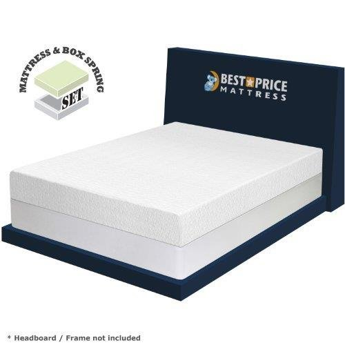Best Price Mattress 8' Memory Foam Mattress and New Innovative Steel Box Spring Set, Twin, White