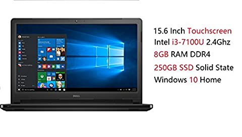 Dell Inspiron 15 5000 High Performance Touchscreen Laptop (Intel Core i3-7100U 2.4Ghz, 8GB RAM, 250GB SSD, DVD, HDMI, Bluetooth, WiFi, Webcam, Windows 10 (Dell Smart Card Reader)