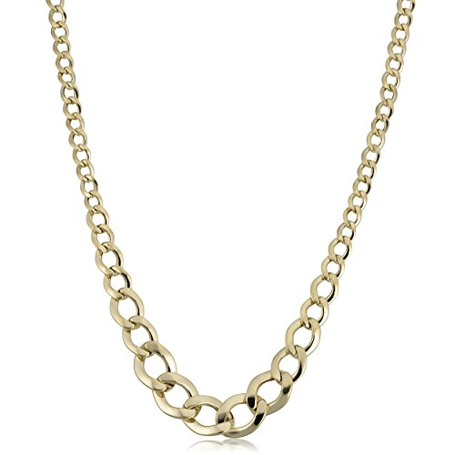 Curb Graduated Link (Kooljewelry 14k Yellow Gold Graduated Curb Link Necklace (18 inch))