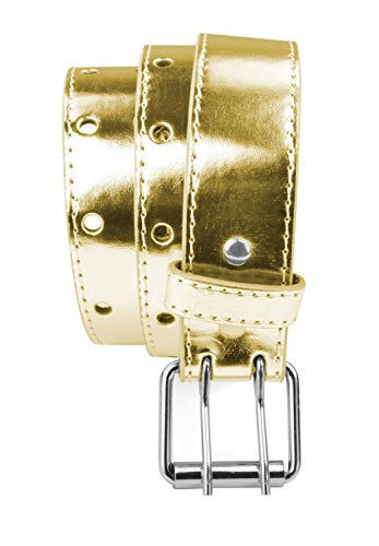 Kids 2 Holes Belt Double Prong Buckle PU Leather Glittery - Gold Small