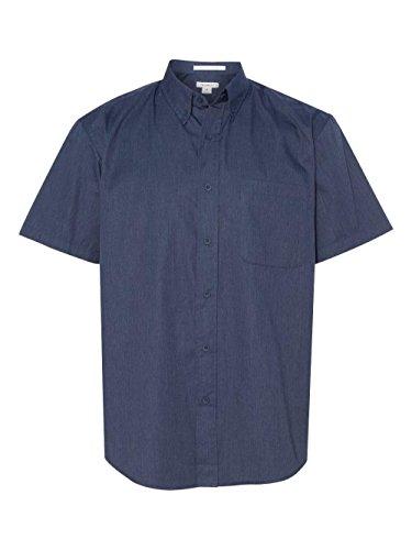 Sleeve Short Mens Shirt Twill (FeatherLite Short Sleeve Stain Resistant Twill Shirt. 0281 Heathered Navy M)