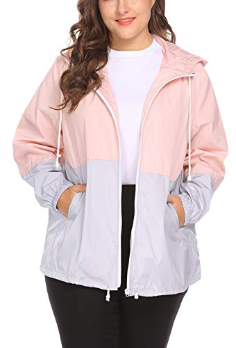 IN'VOLAND Women's Plus Size Raincoat Rain Jacket Lightweight Waterproof Coat Jacket Windbreaker with Hooded Pink