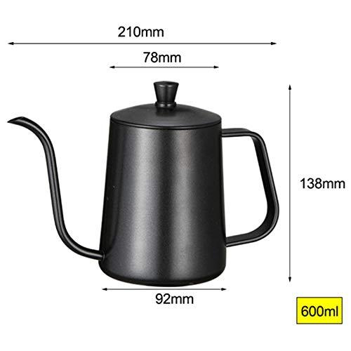 XZANTE Edelstahl Halterung Hand Punch Topf Kaffee Kannen Mit Deckel Tropf Schwanenhals Auslauf Langer Mund Kaffee Kessel Teekanne Silber 600Ml