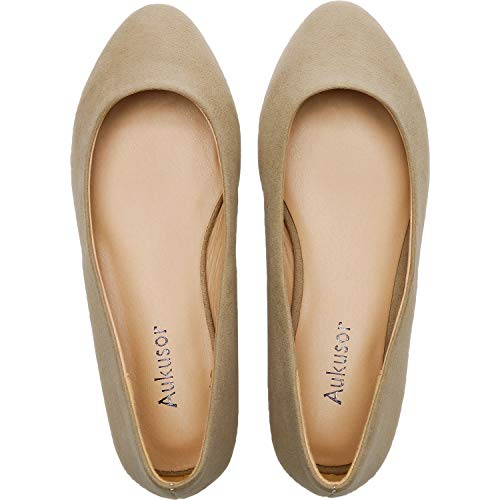 Women's Wide Width Flat Shoes - Comfortable Classic Pointy Toe Slip On Ballet Flat(Beige 180818,7.5) ()