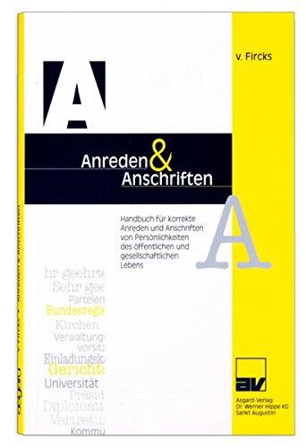 A & A Anschriften und Anreden