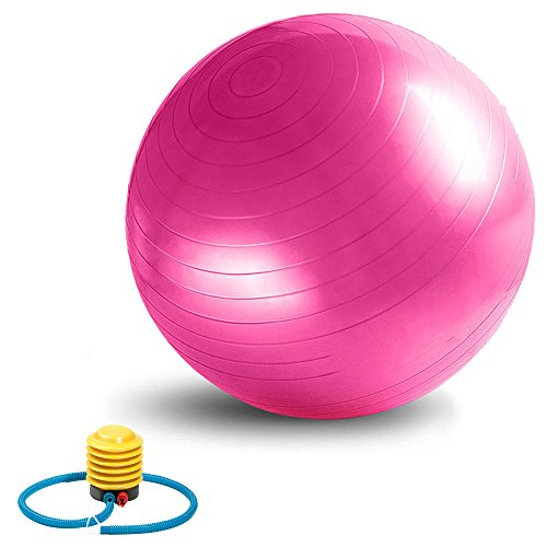 Exercise Ball, VLENIEN Anti-Burst and Slip Resistant Fitness Ball with Pump (Pink, 55cm)
