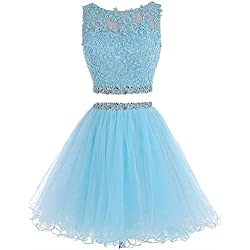 Henglizh Lace Applique Short Tulle Backless Prom Dress Sweet 16 Party Dresses for Teens Sky Blue,US12