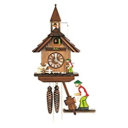 Cuckoo Clock Little black forest house with moving bell ringer and goat