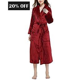 Long Robes for Women - Kimono Luxurious Soft Plush Knit Fleece Spa Bathrobe  for Winter 9477f77eb