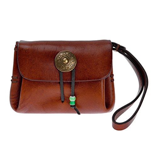 ZLYC Retro Chic Handmade Leather Card Holder Coin Purse Slim Change Pocket Wallet with Wrist Band, Brown