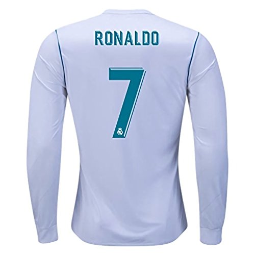 2017-2018 Ronaldo 7 Real Madrid Home Long Sleeve Jersey Men's Color White Size S
