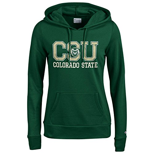 Champion NCAA Women's Comfy Fitted Sweatshirt University Fleece Hoodie Colorado State Rams (Colorado State University Gear)