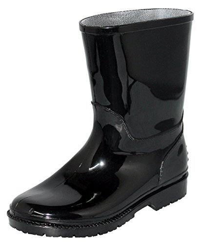 Children's Waterproof Rain Boots, Rubber Rain Shoes Sizes 5-10 (1, Black)