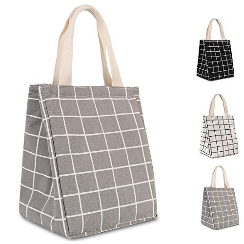 HOMESPON Reusable Lunch Bag Insulated Lunch Box Cute Canvas Fabric with Aluminum Foil, Printed Lunch Tote Handbag Fordable for Women,Men,School, Office (Checkered Pattern-Grey)