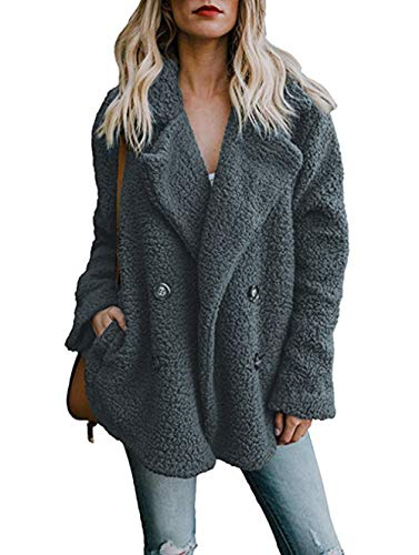 Asskdan Women's Open Front Fuzzy Cardigan Warm Fleece Jacket Coat Long Sleeve Oversized Coat Outwear with Pockets (Dark Grey, L) by Asskdan