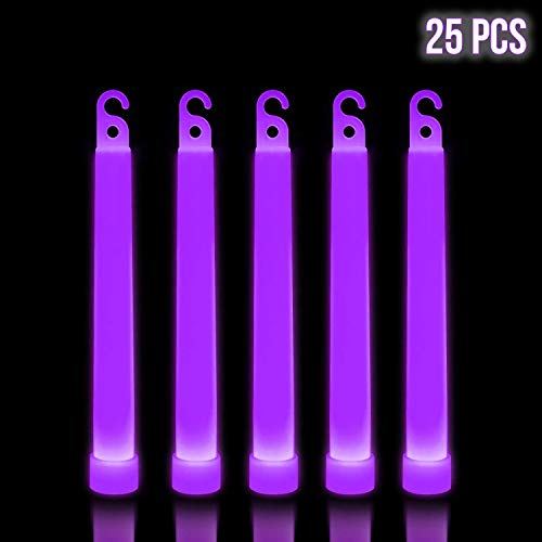 Lumistick 6 Inch Premium Glow Sticks - Flat Bottom Glowstick Rods 15mm Glow in The Dark - Waterproof and Non-Toxic for Neon Party, Camping Lightstick (Purple, 25 Glow Sticks) -
