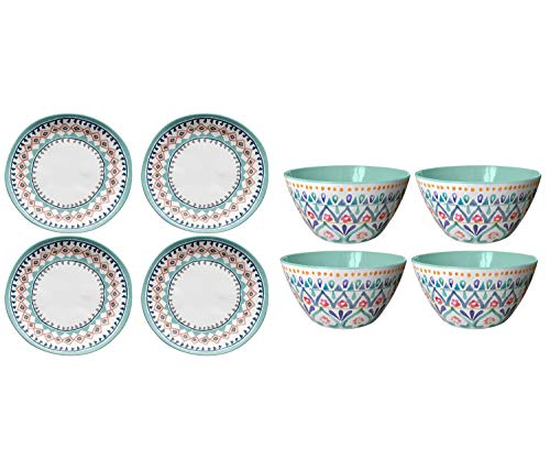 Better Homes & Gardens |Outdoor Melamine Multi-Medallion Cereal Bowl|Set of 4| bundle with Better Homes & Gardens| Outdoor Melamine Multi Geo Design Salad Plate| Set of 4|