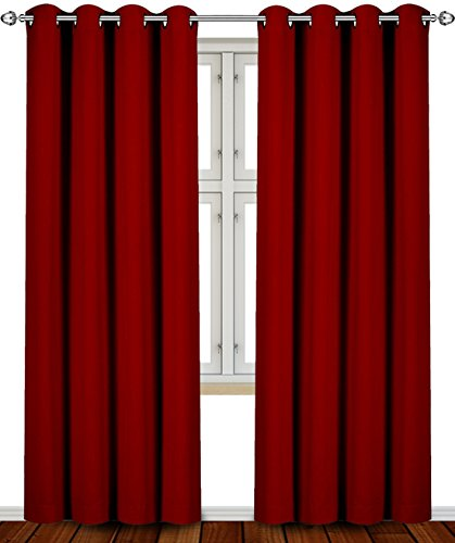 Blackout, Room Darkening Curtains Window Panel Drapes   (Burgundy Color) 2  Panel Set, 52 Inch Wide By 84 Inch Long Each Panel  By Utopia Bedding