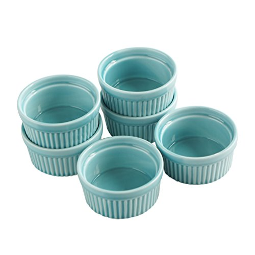 Cinf Porcelain Ramekin Blue 4 oz. Pudding Bowls Dishes Cup For Baking, Set of 6,Souffle Cups Dishes, Creme Brulee, Custard Cups, Desserts, Oven, Microwave, Freezer and Dishwasher Safe (Porcelain Baking Souffle Dish)