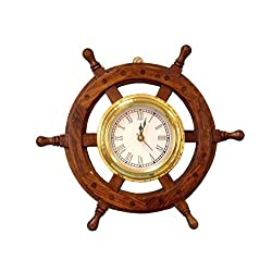 Hampton Nautical  Deluxe Class Wood and Brass Ship Wheel Clock 12 -  - Nautical Home Decorating