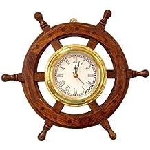 "Hampton Nautical  Deluxe Class Wood and Brass Ship Wheel Clock 12"" -  - Nautical Home Decorating"