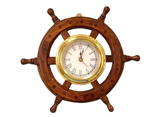 (Hampton Nautical  Deluxe Class Wood and Brass Ship Wheel Clock 12