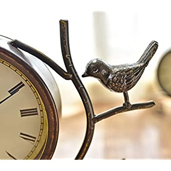 Desk Clock Table Clocks for Living Room Decor Bedroom Vintage Desk Clock Battery Operated Analog Rustic Bird European Non-Ticking Silent Retro Roman Numerals Iron Alarm Clock