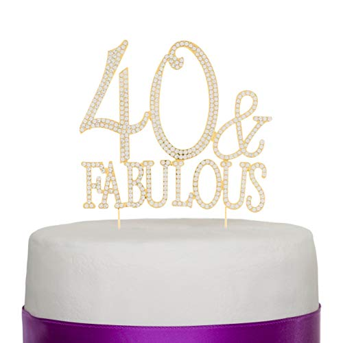 Ella Celebration 40 and Fabulous Cake Topper for 40th Birthday Gold Party Supplies Decorations (40 & Fabulous Gold)
